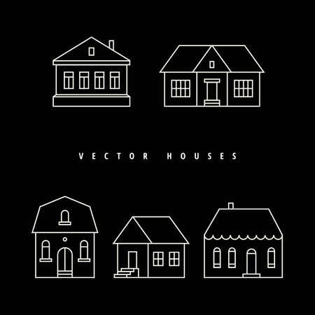 Maisons Set tirées contour blanc sur un fond noir. Vector illustration. Banque d'images - 36008127