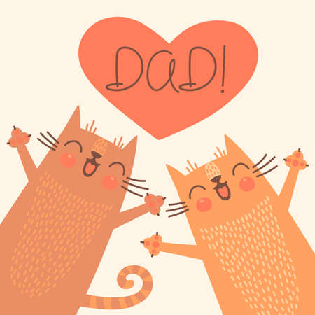 Sweet card for Fathers Day with cats. Vector illustration. Stock Vector - 36059218