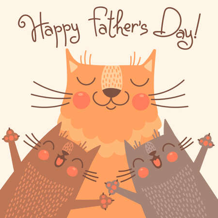 happy fathers day: Sweet card for Fathers Day with cats. Vector illustration.