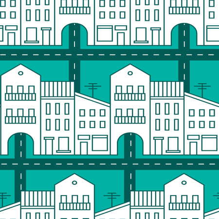 Seamless pattern with houses and streets. Vector illustration. Vector