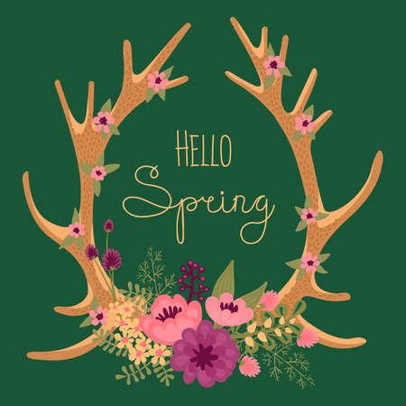 antlers: Vintage card with deer antlers and flowers. Vector illustration.