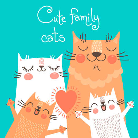 Cute card with family cats. Vector illustration. Çizim