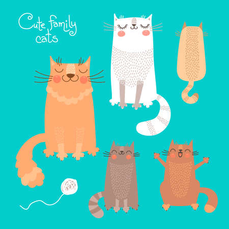 Cute set with cats and kittens. Vector illustration.  イラスト・ベクター素材