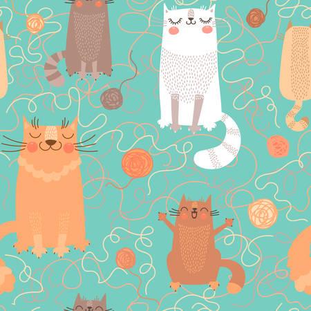 かわいい猫と糸のボールのシームレスなパターン。ベクトルの図。