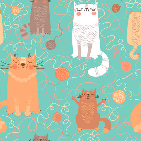 Seamless pattern with cute cats and balls of yarn. Vector illustration. Vettoriali