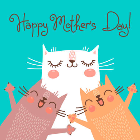 funny cats: Sweet card for Mothers Day with cats. Vector illustration. Illustration