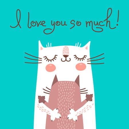 猫と母の日のための甘いカード。ベクトル イラスト。