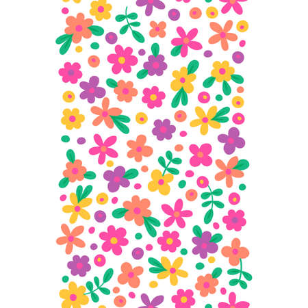 Seamless border with cute flowers. Vector illustration.