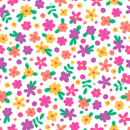 vintage children: Seamless pattern with cute flowers. Vector illustration.