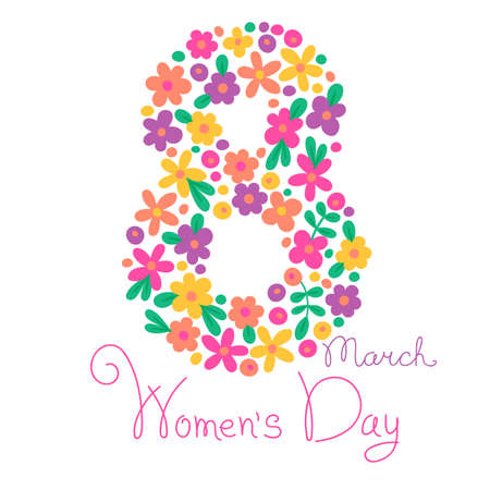 Card Womens Day on March 8. Vector illustration.