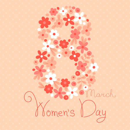 march 8: Card Womens Day on March 8. Vector illustration.