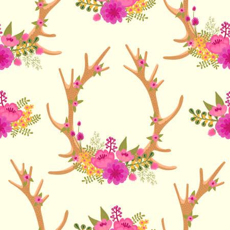鹿の角と花のヴィンテージのシームレスなパターン。ベクトルの図。