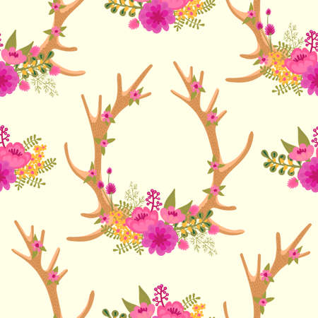 Vintage seamless pattern with deer antlers and flowers. Vector illustration.