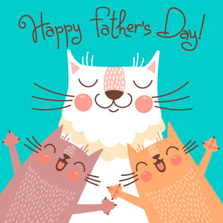 Sweet card for Fathers Day with cats. Vector illustration.