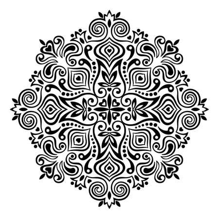 lijntekening: Abstracte Bloem Mandala. Decoratief element voor ontwerp. Vector illustratie. Stock Illustratie