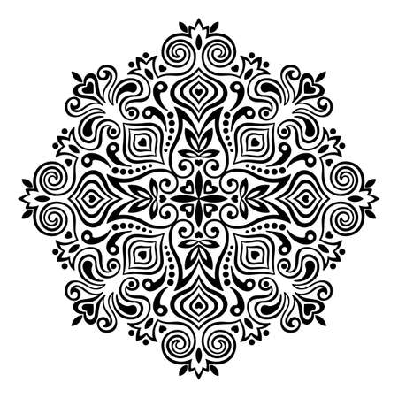 dessin noir et blanc: Mandala Flower abstract. �l�ment d�coratif pour la conception. Vector illustration.