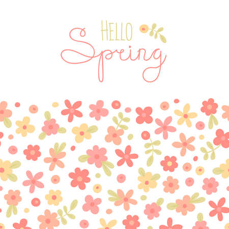 spring holiday: Sizon card Hello Spring with cute flowers. Vector illustration.