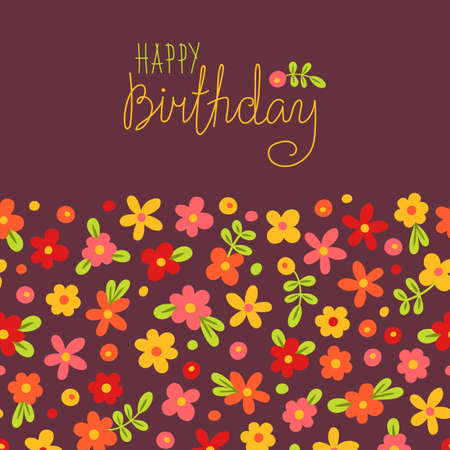 Card Happy Birthday with cute flowers. Vector illustration. Vector