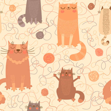 Seamless pattern with cute cats and balls of yarn. Vector illustration. Vector