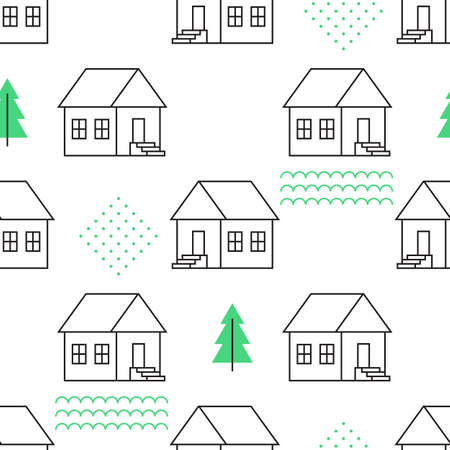 country house: Seamless pattern with country houses. Vector illustration.