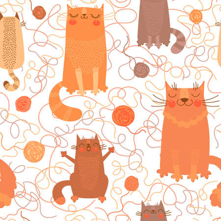yarn: Seamless pattern with cute cats and balls of yarn. Vector illustration. Illustration
