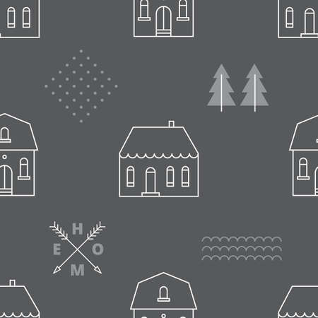 Seamless pattern with country houses. Vector illustration. Vector