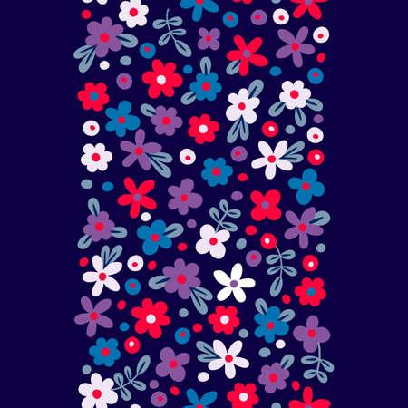silhouette fleur: Frontière perméable avec des fleurs mignonnes. Vector illustration.