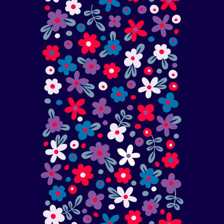 Seamless border with cute flowers. Vector illustration. Vector
