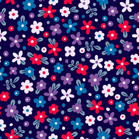 Seamless pattern with cute flowers. Vector illustration.
