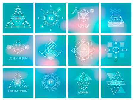 symbol technology: Futuristic Geometric Hipster Elements and Logos. Vector illustration.