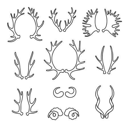 deer hunter: Set horns silhouettes for design. Vector illustration. Illustration