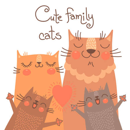 Cute card with family cats. Vector illustration. Ilustracja