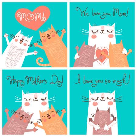 Carte di dolci per la Festa della Mamma con i gatti. Illustrazione vettoriale. Archivio Fotografico - 38168732