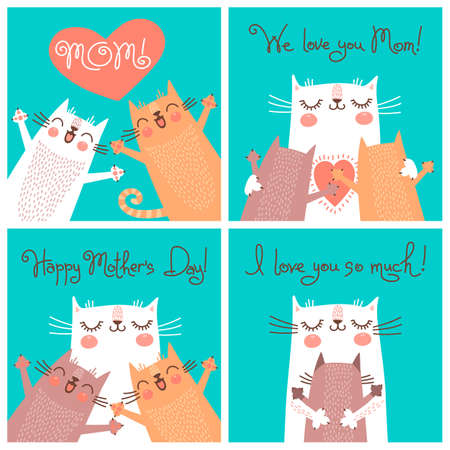 funny cats: Sweet cards for Mothers Day with cats. Vector illustration. Illustration