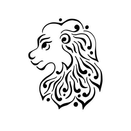 Lion head tattoo or logo. Vector illustration.