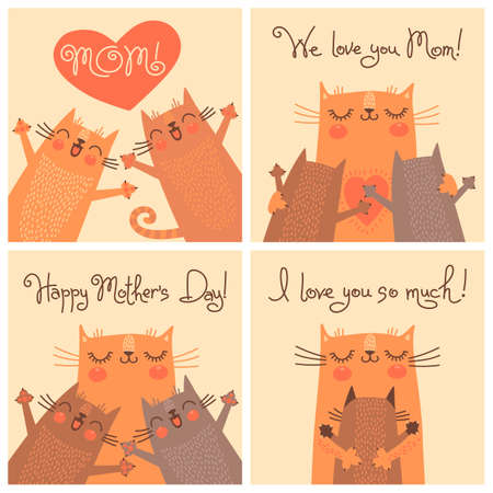 Sweet cards for Mothers Day with cats. Vector illustration. Vettoriali