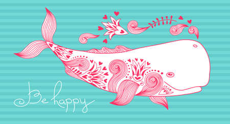 cachalot: Card Be Happy with Whale and Patterns. Vector Illustration.