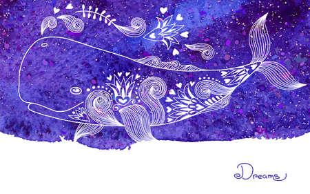 Watercolor Card Dreams with Beautiful Whale.