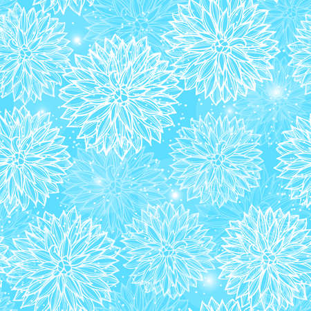 Seamless pattern with flowers Dahlia. Vector Illustration. Çizim