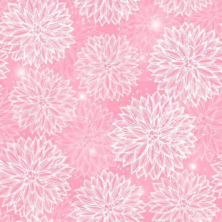 Seamless pattern with flowers Dahlia. Vector Illustration. Çizim