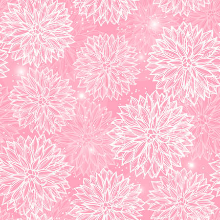 Seamless pattern with flowers Dahlia. Vector Illustration. Illustration