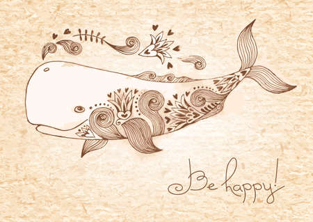 cachalot: Vintage card with happy whale.