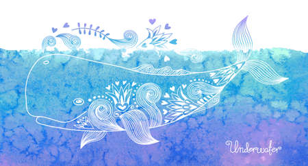 Watercolor card with happy whale and patterns. Vector illustration. Çizim