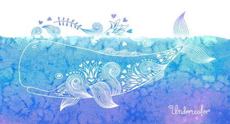 Waterverfkaart met vrolijke walvis en patronen. Vector illustratie. Stock Illustratie