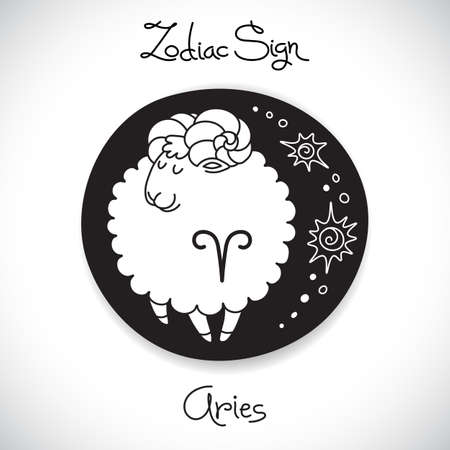 Aries zodiac sign of horoscope circle emblem in cartoon style. Vector illustration. Vector
