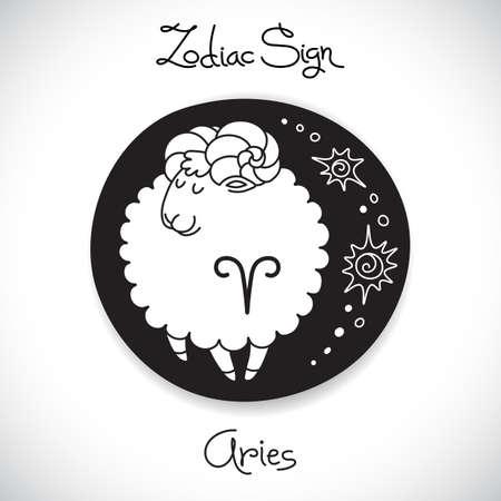Aries zodiac sign of horoscope circle emblem in cartoon style. Vector illustration.