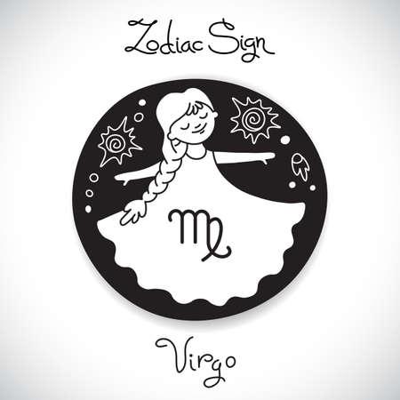 Virgo zodiac sign of horoscope circle emblem in cartoon style. Vector illustration.