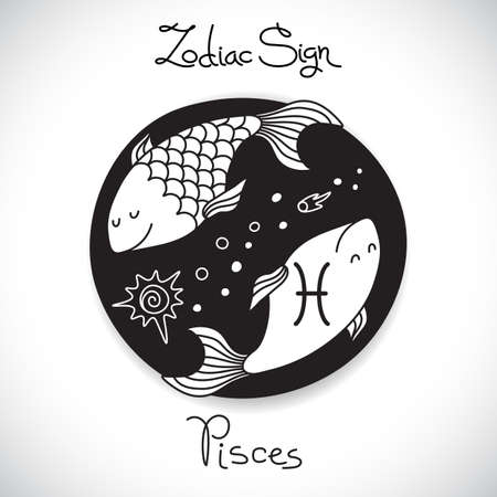 Pisces zodiac sign of horoscope circle emblem in cartoon style. Vector illustration.