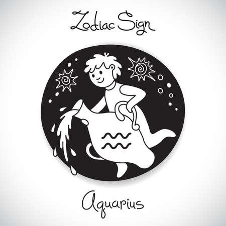 Aquarius zodiac sign of horoscope circle emblem in cartoon style. Vector illustration. Vector