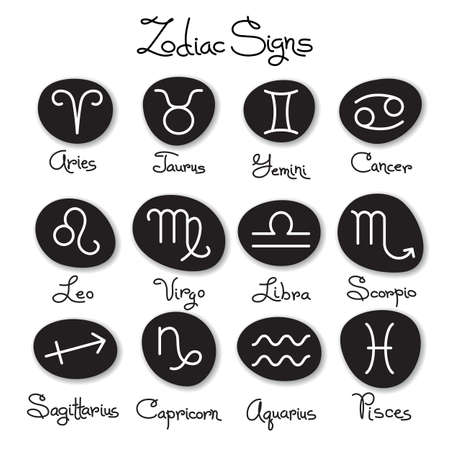Set of simple zodiac signs with captions. Vector